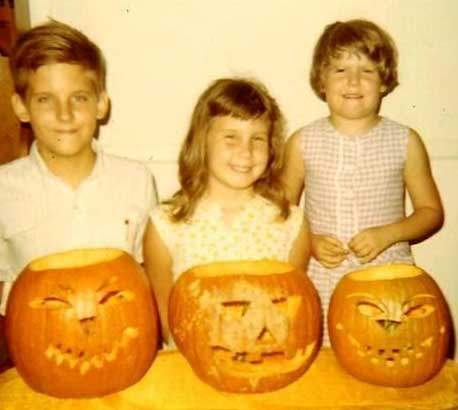 The Author (far right), with her pumpkin in 1969