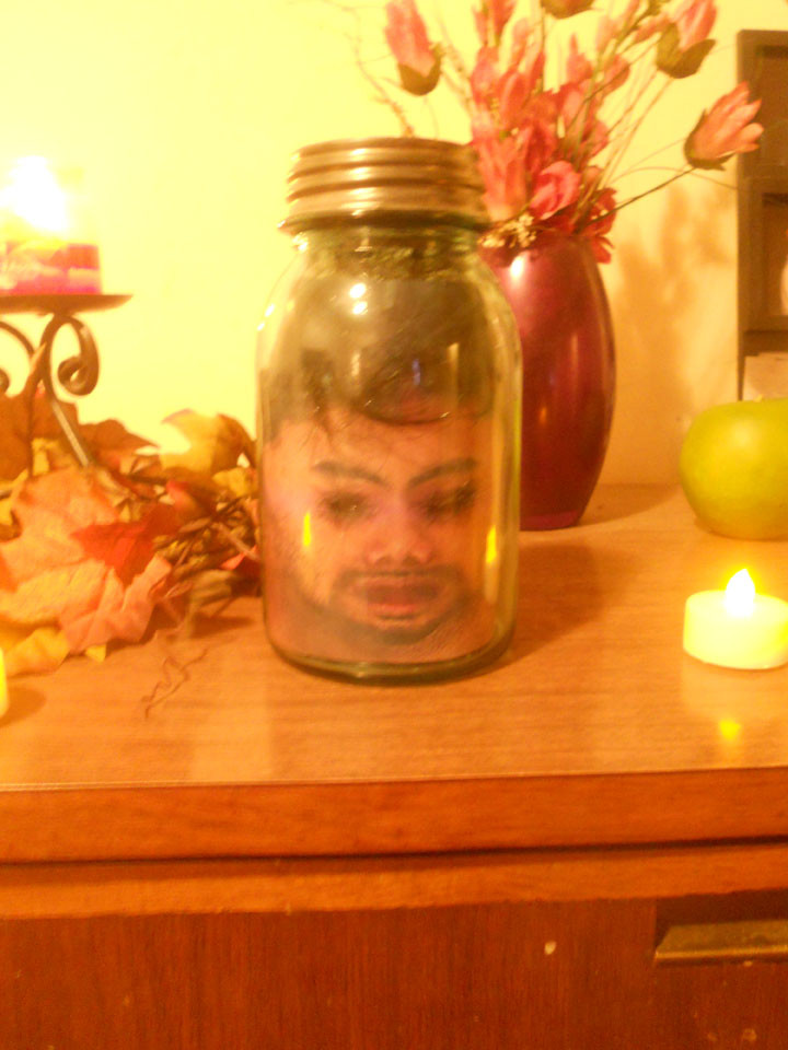Complete Head in a Jar Halloween prop