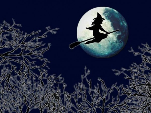 Witch and Full Moon on Halloween