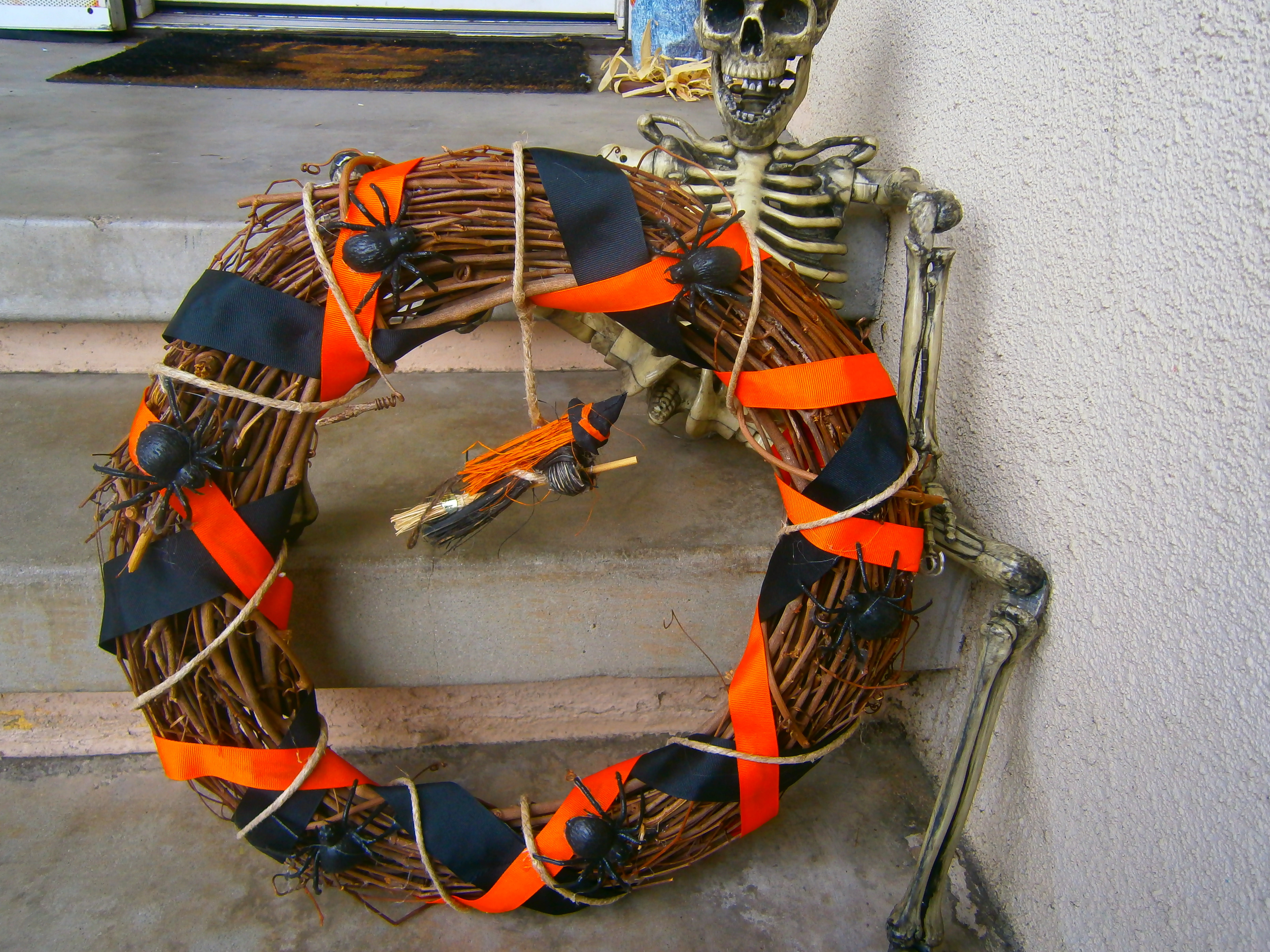 how to halloween yard haunting decorations and home made props make a dollar store halloween wreath