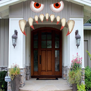 Scary Face on Garage Door for Halloween