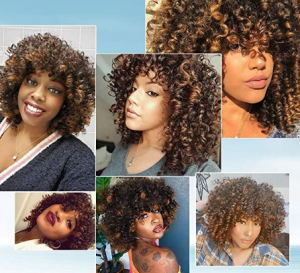 curly brown and black natural wig