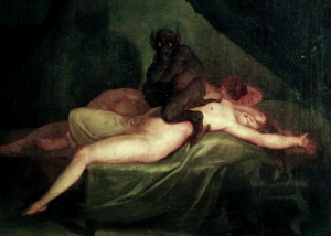 Classic artwork of incubus and nude woman