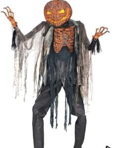 creepy scarecrow with pumpkin head