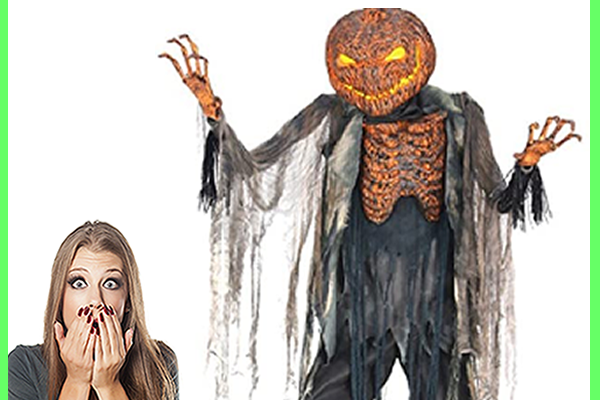 haunted jack o lantern and scared woman