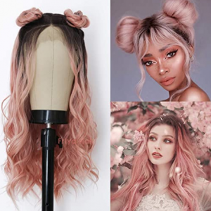baby pink long wavy cosplay wig