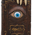 Halloween prop book of witch spells with eye