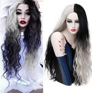black and white split ombre wig