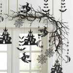 silhouette haunted Halloween tree streamers