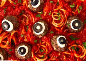 Halloween eyeball spaghetti recipe