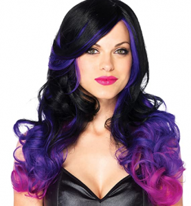black purple and pink cosplay wig