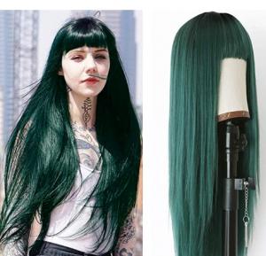 long straight seaweed green mermaid wig