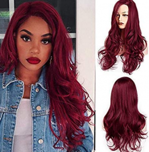 long red wine colored wavy cosplay wig