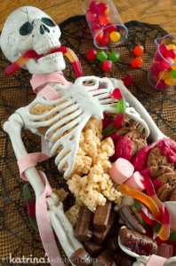 skeleton dessert tray for Halloween