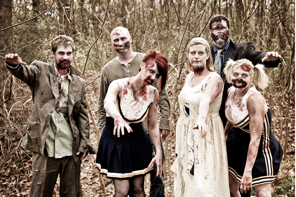 group of zombies in the woods