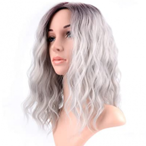 black to gray ombre cosplay wig