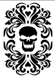 black skull stencil with gothic touches
