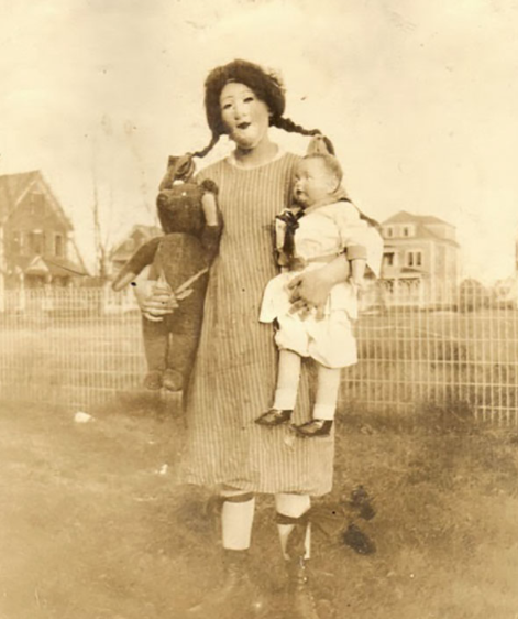 man dressed as a doll for Halloween