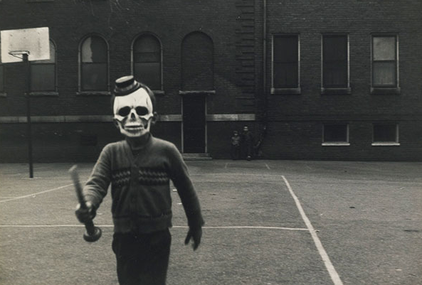 halloween child skeleton in costume