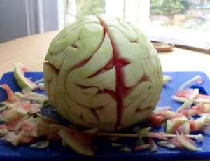 Halloween brain watermelon recipe
