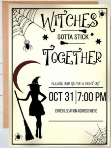 witches gotta stick together Halloween party invitation